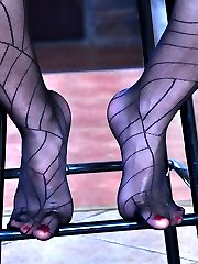 Hairy girl playfully exposes her pedicured feet in black fashion pantyhose
