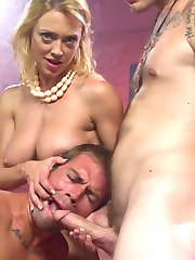 Darling loves her husband, but he is not satisfying her sexual needs. She takes him to see a guru who proposes a new kind of therapy - cuckold therapy. Darling fucks her husband in the ass to teach him what a good fucking feels like, then she rides this guru's big cock, making her husband watch and allowing him to taste her cum off another man's cock. She cums and cums until she is finally satisfied, then holds her husband's face to receive her guru's load. This kind of therapy leaves Darling smiling!