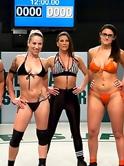 Its the First match for the tag team season. Team Dragon Serena Blair wrestler Penny Barber...