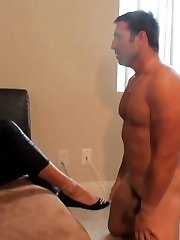 This hot mature brunette enjoys doing things that are much more BDSM than just some light foot...