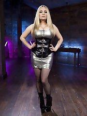 Goddess Aiden Starr welcomes back insatiable Electroslut Emma Haize with bondage, the violet...