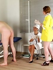 Undressed male sub ready for femdom medical games