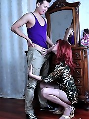 Fiery sissy gets his dress hiked up and his thong clad butt fucked by a guy