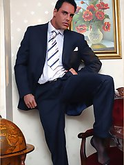 Marcello looks amazing in his suit and even better when he's wanking
