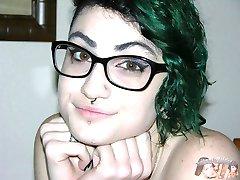 Emo Glasses Wearing Teen Models Nude, Gives Handjob And Receives A Facial