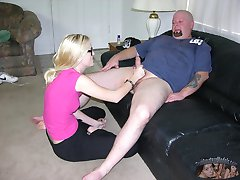 Blonde Amateur Nerd With Glasses Gives Big Bald Dude Handjob