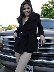 Kinky brunette exgirlfriend Nena James flashing her diminutive body in backyard
