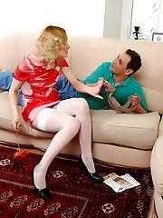 Guy smelling sheer nylon pantyhose before admiring cutie in white stockings