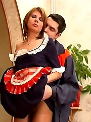 Steaming hot French maid giving a great handjob using her sheer pantyhose