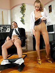 Freaky secretary in tan tights giving legjob before hot fucking from behind
