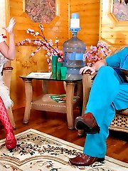 Hot nurse in red fashion crotchless tights getting it on with a lustful doc