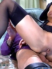 Sexy hottie in black stockings teases a guy with her ready for action pussy
