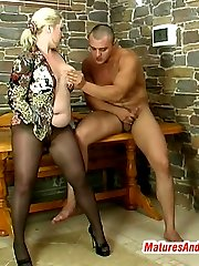 Hot mature gal in control top pantyhose prefers role games before wild fuck
