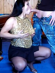Sassy milf in black hose gives head before fucking with a nylon crazy guy