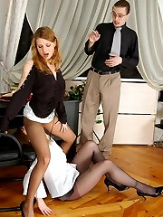 Naive gal in black tights seduced into steamy 3sum by her lusty co-workers