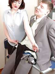 Nylon addicted boss get horny finding his secretarys soft black pantyhose