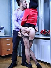 Red hot office babe gets her ass groped and poked for a steamy anal quickie