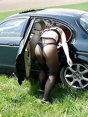 Amateur girls in pantyhose posing in public place