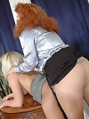 Curly babe getting lured looking at upskirt schoolgirl in soft silky tights