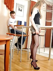 Naughty gal in smooth black nylons worshipped and screwed right in the cafe