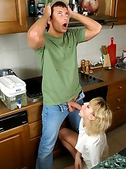 Blonde housewife in shiny pantyhose luring a repairman into steamy oral sex