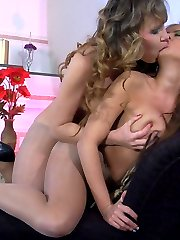 Hot lesbian pantyhose 2some filmed thru fine nylon fabric and open crotch