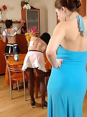 Heated French maids getting to lesbian play without taking off their tights