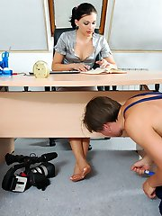 Hot worker devouring babes delicious feet clad in pantyhose with his eyes