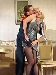 Smashing blondie in barely black pantyhose getting new fucking sensation