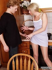 Trendy blonde flashing the rear clad in flesh-colored pantyhose to her man