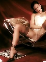 Marlene masturbating in nylon stockings