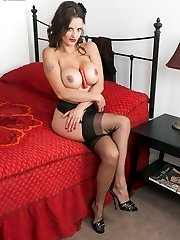Latin look Valentina hot in vintage nylon slip and black full fashion nylons!