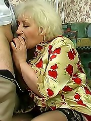 The lush old slut lets him eat her vag like he wants to and then she sucks his young dick.