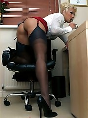 Naughty boss Leggy Lana seduces her new rep with her silky red panties and cock sucking skills