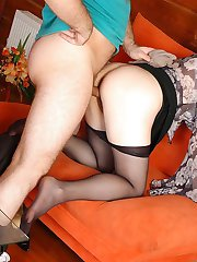 Bigtitted milf putting on her favorite black pantyhose for a hardcore fuck
