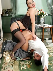 Lustful chick jamming strap-on up her barman�s ass right by the fire-place