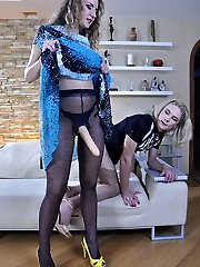 Prissy sissy acts like a maiden gargling and riding his girl�s strapon fuckpole