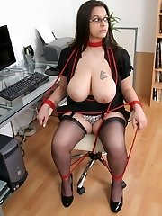 Huge-chested Indian assistant tied up in the office
