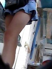 Sheer panty in upskirt video