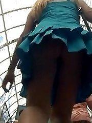 Up skirt long legs view of teen amateurs