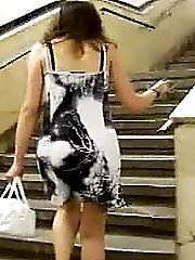 She doesnt notice us making upskirt videos when walking up the stairs