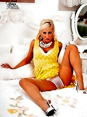 Jennifer looks so hot in her full frock, ff nylons and sheer panties!
