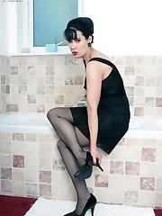 Tanya in the bath in black slip, sheer panties and RHT nylons!