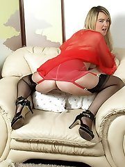 Katie Kay gets nasty in girdle and vintage full fashion nylons!