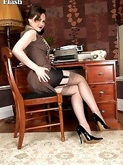 Tinas in her home office wearing open bottom girdle and vintage nylons!