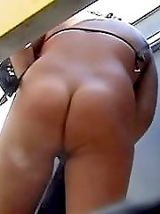 This video of nice brunette is aimed at lovers of big naked sexy prats! Cool!