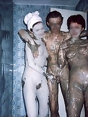 Pretty breezies undress in locker room flashing their hot shaggy beavers, seductive tits and sweet butts