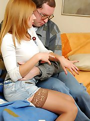 Nasty gal spanked by old dude for sneaking a wallet making up with a fuck