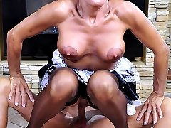 Smoking hot older French maid gets creamed jugs after a raw cock servicing
