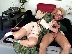 The wet and sexy granny fuck hole gets pounded by his dick and he cums all over it